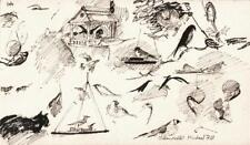 MICHAEL ANTHONY FELL Small Pen & Ink Drawing BIRDS & CAT SKETCHES