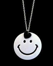 Kitsch Retro 80s Large White Smiley Black Heart Charm Pendant Long Necklace