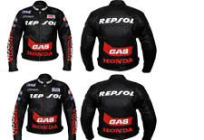 New Mens Full Black Motorbike Motorcycle Cowhide Leather Jacket For Honda Repsol