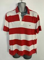 MEN TOMMY HILFIGER SIZE LARGE RED&WHITE SHORT SLEEVE CREW NECK CASUAL POLO SHIRT