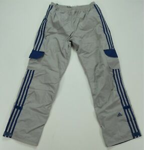 Rare Vintage ADIDAS Spell Out Trefoil Striped Nylon Track Pants 90s Gray Kids XL