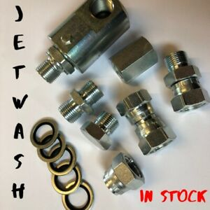 Pressure washer  jet wash hose fittings & adapters swivels blanks & washers