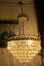 Antique Vnt..French Basket Style Swarovski Crystal Chandelier Lamp Light 1960's.