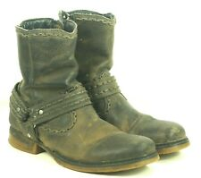 Bed Stu Distressed Leather Harness Biker Motorcycle Ankle Chelsea Boots Men's 10