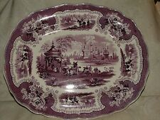 "RARE 1830-40s Staffordshire 15"" Serving PLATTER ADAMS Palestine Mulberry Color"