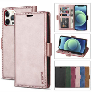 For iPhone 12 Pro Max 11 Xs Xr 8/7 Leather Magnetic Flip Wallet Cards Case Cover