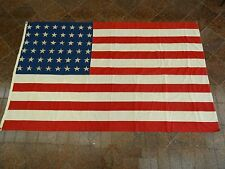 HUGE 5'x8' VINTAGE WWII ERA 48 STAR SEWN AMERICAN FLAG & PRINTED CANTON * NY
