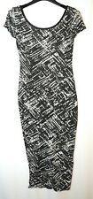 BLACK WHITE LADIES CASUAL STRETCH BODYCON DRESS SIZE 8 NEW LOOK