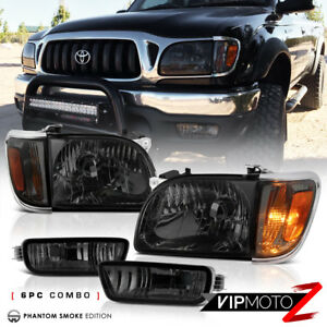 [SMOKED 6PC KIT] For 2001-2004 Toyota Tacoma Corner Signal Bumper Head Lights