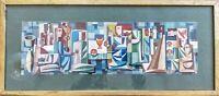 Gouache sur papier, projet de retable cubiste ? auteur à identifier 49,5x21,5 cm
