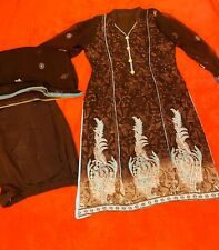 Pakistani 3 Piece Shalwar Kameez Large, Embroidery Chiffon Dupatta Used Once Set
