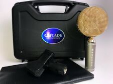 Cascade Fat Head Ribbon Microphone Gray Body with Gold Scoop Grill