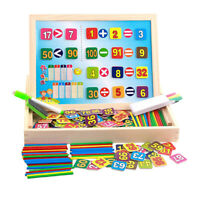 Kids Montessori Wooden Math Counting Educational Toy Double Sides Board