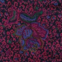 Black Red Green Floral Silk Half Ascot Cravat ITALY