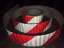 """RED & WHITE Reflective Tape 50mm (2"""") Wide Self Adhesive Safety WARNING Vehicle"""