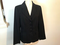 NWT ANN TAYLOR Black Red Pinstripe Long Sleeve Button Jacket Size 10