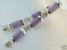 Natural Purple Jade Gems Silver Metal Fortune Lucky Link Clasp Bracelet Bangle