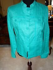 Coldwater Creek Emerald Green Feminine Ribbon Linen Jacket Misses 12 NWT