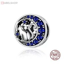 Charm Anhänger f. Pandora Katze Stern Sterne Mond Blau Perle 925 Sterlingsilber