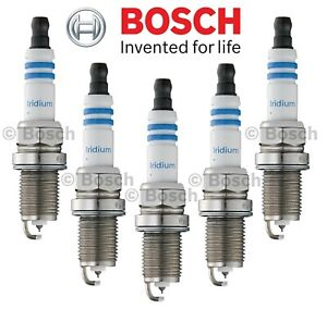 Set of 5 Spark Plugs Bosch Iridium 9607 for Volvo 850 2.4 L5 Acura TL 2.5 L5