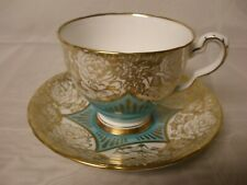 ROYAL STAFFORD Vintage Tea Cup & Saucer Turquoise Large Gold Cabbage Roses Gilt