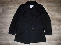 Vintage DSCP Quarterdeck Black Military Navy Peacoat Cot Pea Coat Men's Size 40L