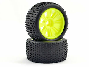 FTX Comet Truggy Rear Wheels and Tyres (2) - Yellow FTX9068Y