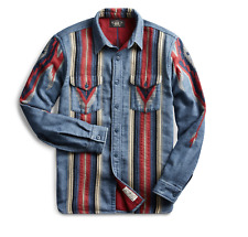 NWT New RRL Ralph Lauren Indigo Shirt Blanket Western Overshirt Men's Small S