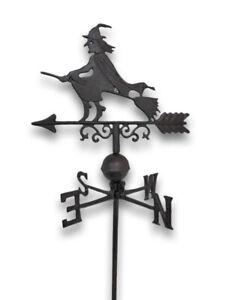 Zeckos Flying Witch Weathervane Lawn Decoration Garden Stake
