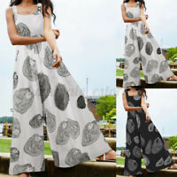 Womens Strappy Cotton Printed Overalls Jumpsuit Romper Dungaree Loose Bib Pants