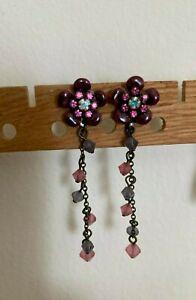 Liz Palacios Pierced Dangle Earrings - Enamel and Crystal - Purple and Pink