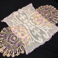 """Vintage Mid Century Lavender Ecru Crocheted Doilies Lot of 3 Rectangle 12"""" Round"""