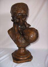 Vintage Large Ceramic Statue Bust Mother & Child Figurine Bronze Finish NICE