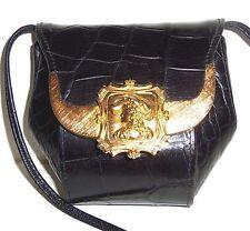 LADY PORTRAITURE Croco Black Leather shoulder bag purse VINTAGE