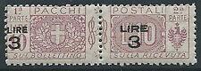 1923-25 REGNO PACCHI POSTALI 3 SU 10 LIRE MNH ** - ED775-6
