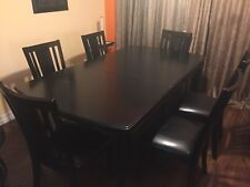 Excellent Extensible Up To 8 people black dinner set table with 6 chairs
