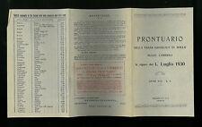 PRONTUARIO DELLA TASSA GRADUALE DI BOLLO SULLE CAMBIALI  1930