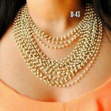 Indian Gold Tone Kundan Necklace Pearl Bollywood Wedding Bridal Jewelry Sets