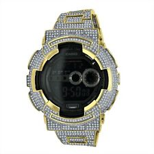 New Icy Diamond Simulated G Shock GD100-1B White On Yellow Gold Custom Watch