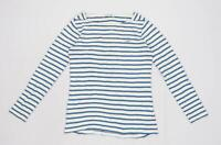Lacoste Womens Size 6 Striped Cotton White Top (Regular)