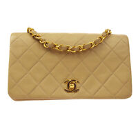 CHANEL Quilted Full Flap Single Chain Shoulder Bag 1696470 Beige Leather 60386