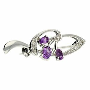 Sterling Silver 3 Oval Amethyst and Cubic Zirconia Swirls New