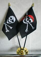 SKULL AND CROSSBONES AND PIRATE BANDANA TABLE FLAG SET 2 flags plus GOLDEN BASE