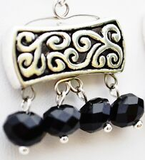 Arabic Style Black, Pink, White or Green Crystal and Silver Handmade Earrings