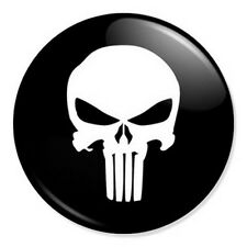 "The Punisher Logo 25mm 1"" Pin Badge Button Marvel Comics Superhero Classic Black"