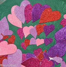 42 Adhésif Paillettes Rouge/ Violet/ Mauve / Cerisr / Rose Mousse Cœurs Neuf