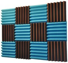 2x12x12 (12 Pk) TEAL/BROWN Acoustic Wedge Soundproofing Studio Foam Tiles