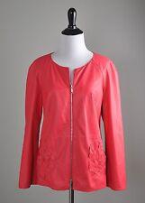 LAFAYETTE 148 New York NWT $998 100% Leather Geranium Jacket Top Size Medium