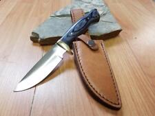 Black Pakkawood Fixed Full Tang DROP PT Hunter KNIFE w/ LEATHER Sheath 3361BK