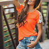 Summer Women's Lace Shoulder T-Shirt Short Sleeve Loose Tops Casual Blouse